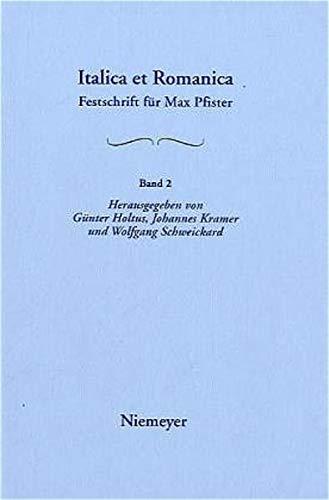 9783484503526: [Morphologie, Syntax, Wortbildung; Sprachkontakte Und Sprachvergleich]: Aus: Italica Et Romanica: Festschrift F R Max Pfister Zum 65. Geburtstag, Bd.