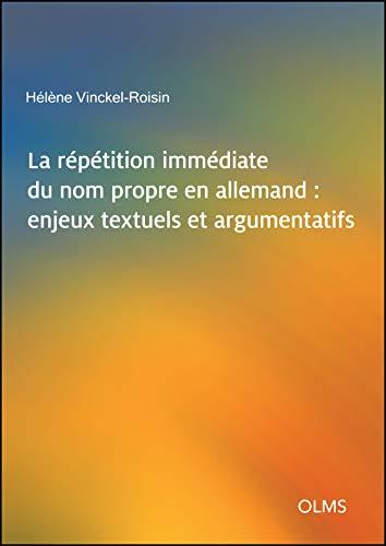 9783487157054: Vinckel-Roisin, H: Répétition immédiate du nom propre en all