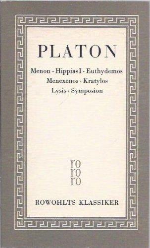 Sämtliche Werke 02. Menon. Hippias I. Euthydemos.: Platon