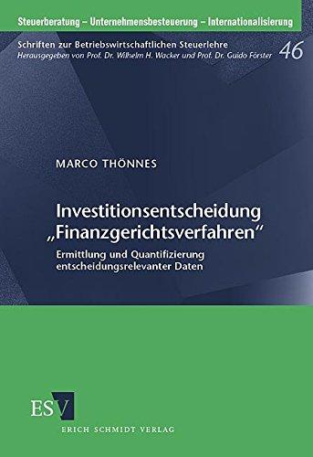 """Investitionsentscheidung """"Finanzgerichtsverfahren"""": Marco Thönnes"""
