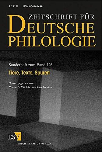 9783503098286: Zeitschrift für deutsche Philologie, Sonderhefte, Bd.126 : Tiere, Texte, Spuren