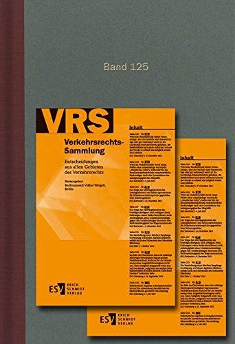 9783503156894: Verkehrsrechts-Sammlung (VRS) Band 125: Entscheidungen aus allen Gebieten des Verkehrsrechts