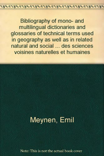 Bibliography of mono- and multilingual dictionaries and: Meynen, Emil