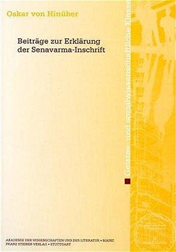 Beiträge zur Erklärung der Senavarma-Inschrift. Akademie der Wissenschaften und der ...