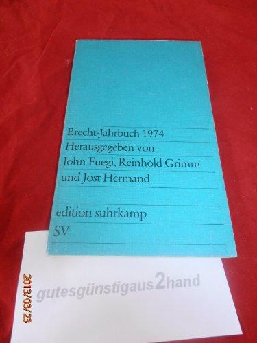 Brecht-Jahrbuch 1974: Brecht Bertolt) -