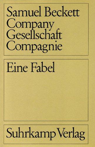 9783518021095: Gesellschaft. Eine Fabel in drei Sprachen. Deutsch / Englisch / Französisch.