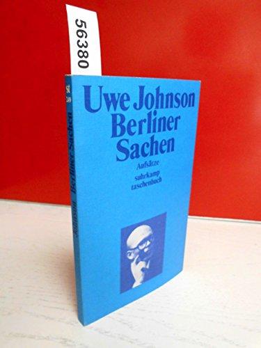 9783518067499: Berliner Sachen (Suhrkamp Taschenbuch ; 249) (German Edition)