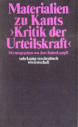9783518076606: Materialien zu Kants 'Kritik der Urteilskraft'