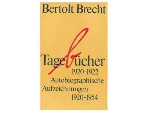 9783518093788: Tagebücher 1920-1922. Autobiographische Aufzeichnungen 1920-1954.