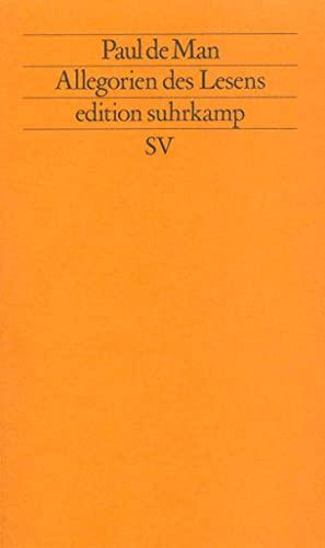 9783518113578: Allegorien des Lesens. ( Neue Folge, 357).