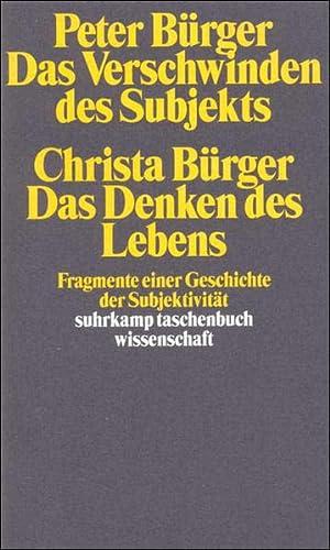 9783518291122: Das Verschwinden des Subjekts / Das Denken des Lebens.