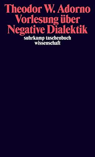 9783518294475: Vorlesung uver Negative Dialektik