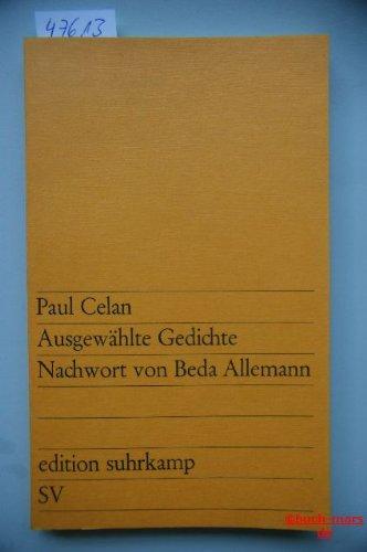 Ausgewählte Gedichte. Zwei Reden., Nachwort von Beda: Celan, Paul: