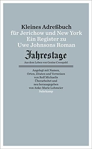 9783518464984: Kleines Adressbuch für Jerichow und New York: Ein Register zu Uwe Johnsons Roman