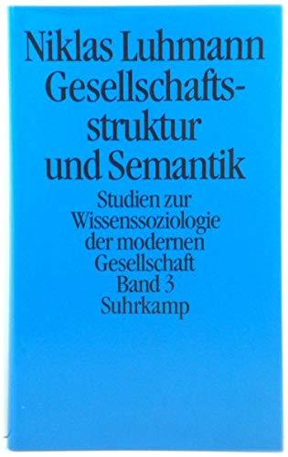 9783518579480: Gesellschaftsstruktur und Semantik, 4 Bde., Bd.3