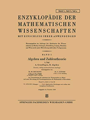 Algebra und Zahlentheorie: M. Deuring