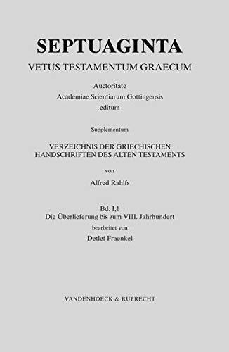 9783525534472: 1: Verzeichnis der griechischen Handschriften des Alten Testaments (Septuaginta, Supplementum)