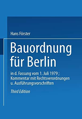 Bauordnung Fur Berlin in Der Fassung Vom
