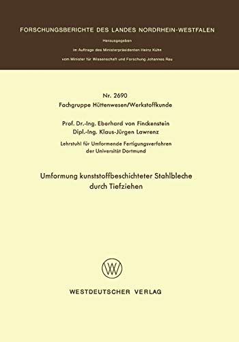 9783531026909: Umformung Kunststoffbeschichteter Stahlbleche Durch Tiefziehen (Forschungsberichte des Landes Nordrhein-Westfalen)