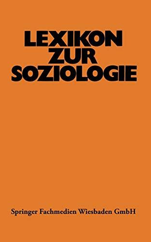 9783531111889: Lexikon zur Soziologie (German Edition)