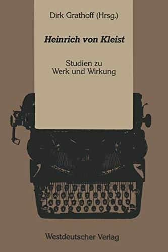 9783531120027: Heinrich von Kleist: Studien zu Werk und Wirkung (German Edition)