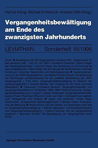9783531131566: Vergangenheitsbewältigung am Ende des zwanzigsten Jahrhunderts (Leviathan Sonderhefte)