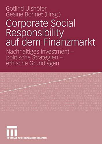 9783531160771: Corporate Social Responsibility auf dem Finanzmarkt