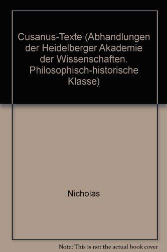 9783533037446: Cusanus-Texte (Abhandlungen der Heidelberger Akademie der Wissenschaften. Philosophisch-historische Klasse)