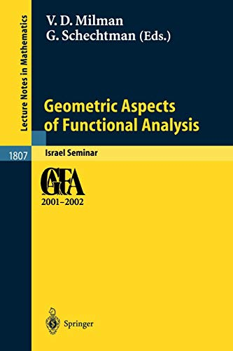 9783540004851: Geometric Aspects of Functional Analysis: Israel Seminar 2001-2002 (Lecture Notes in Mathematics)