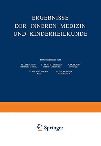 9783540013808: Ergebnisse der Inneren Medizin und Kinderheilkunde: Neue Folge