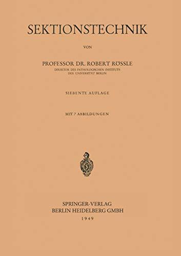 9783540014140: Sektionstechnik (German Edition)
