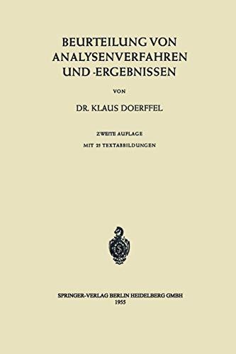 9783540032700: Beurteilung von Analysenverfahren und -Ergebnissen (German Edition)