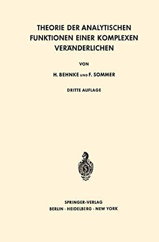 9783540032991: Theorie Der Analytischen Funktionen Ein (Grundlehren Der Mathematischen Wissenschaften (Springer Hardcover))