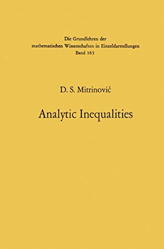 9783540048374: Analytic Inequalities. (Grundlehren der mathematischen Wissenschaften)