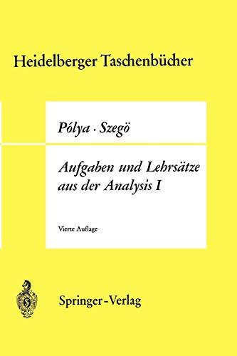 9783540048749: Aufgaben und Lehrsätze aus der Analysis: Erster Band Reihen · Integralrechnung · Funktionentheorie (Heidelberger Taschenbücher)