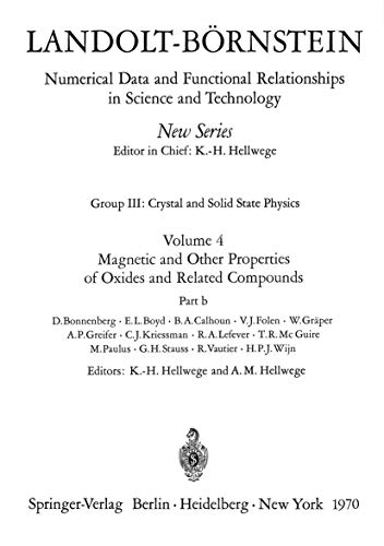 Magnetic and Other Properties of Oxides and: Bonnenberg, D. (Author)/