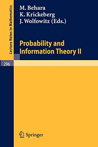 9783540062110: Probability and Information Theory II: No. 2 (Lecture Notes in Mathematics)