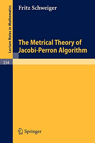 9783540063889: The Metrical Theory of Jacobi-Perron Algorithm (Lecture Notes in Mathematics)
