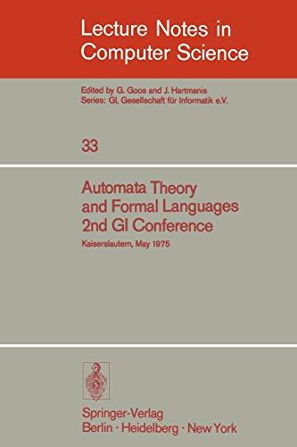 Automata Theory and Formal Languages: 2nd GI: H. Brakhage
