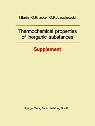 9783540080312: Thermochemical properties of inorganic substances: Supplement