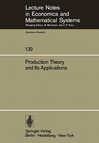 Production theory and its applications : proceedings: Albach, Horst [Hrsg.]: