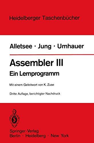 9783540092063: Assembler III: Ein Lernprogramm
