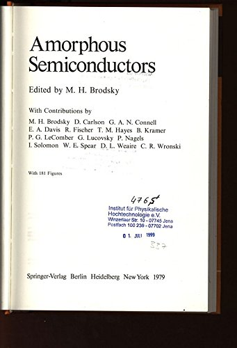 9783540094968 Amorphous Semiconductors Topics In Applied