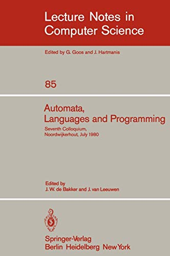 Automata, Languages and Programming: Seventh Colloquium, Noordwijkerhout,