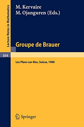 9783540105626: Groupe de Brauer: Seminaire, Les Plans-sur-Bex, Suisse, 1980 (Lecture Notes in Mathematics) (English and French Edition)
