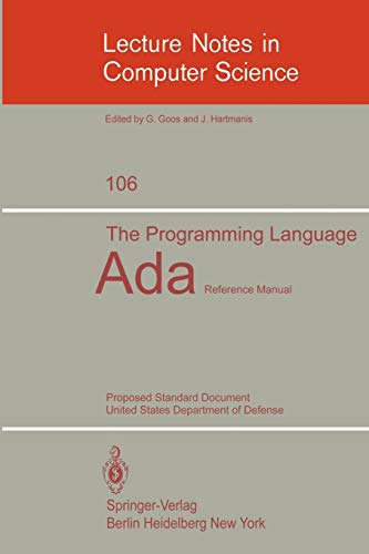 9783540106937: The Programming Language Ada: Reference Manual. Proposed Standard Document United States Department of Defense (Lecture Notes in Computer Science)