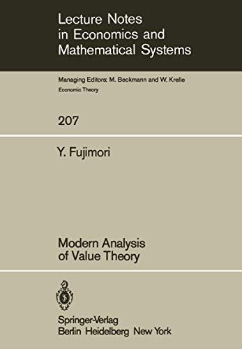 9783540119494: Modern Analysis of Value Theory (Lecture Notes in Economics and Mathematical Systems)