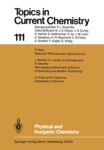 9783540120650: Physical and Inorganic Chemistry (Topics in Current Chemistry)