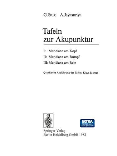 9783540120872: Tafeln zur Akupunktur: I: Meridiane am Kopf; II: Meridiane am Rumpf; III: Meridiane am Bein (German Edition)