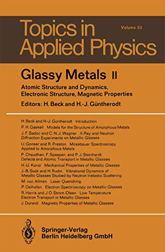 9783540127871: Glassy Metals II: Atomic Structure and Dynamics, Electronic Structure, Magnetic Properties (Topics in Applied Physics)